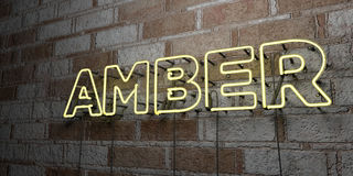 AMBER - Glowing Neon Sign on stonework wall - 3D rendered royalty free stock illustration Stock Images