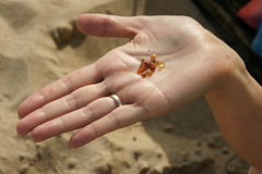 Amber on a hand. Tiny amber pieces on female hand founded in a Baltic Sea Royalty Free Stock Photos