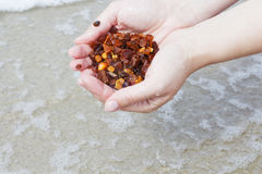 Amber in the hand with a bright reflection on the palm against the background of the sea. Bright glow of the sun stone in female hand. Mineral from resin Royalty Free Stock Image