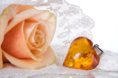 Amber heart Stock Photography