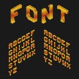 Amber Isometric Latin Alphabet fonte 3D geométrica Imagens de Stock