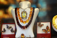 Amber jewelry Royalty Free Stock Image