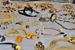 Amber jewelry in Gdansk Royalty Free Stock Photo