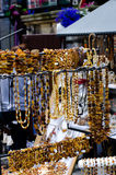 Amber jewelry in Gdansk, Poland Royalty Free Stock Photo