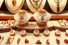 Amber jewelry Royalty Free Stock Images