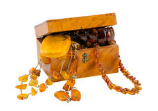 Amber Jewelry Vintage Wooden Box Isolate On White Royalty Free Stock Photography