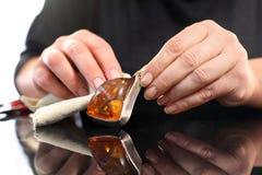 Amber jewelry Stock Image