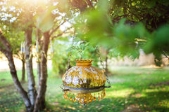 Amber lamp with hanging crystals Royalty Free Stock Images