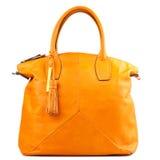 Amber  leather bag isolated on white background. Stock Photo