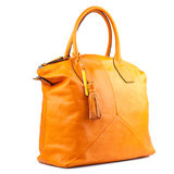 Amber  leather bag isolated on white background. Royalty Free Stock Photos