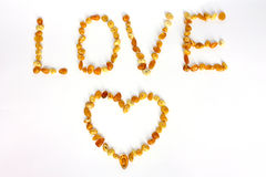 Amber love sign Stock Photo