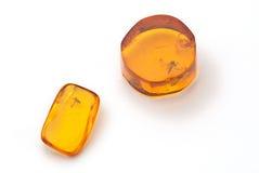 Amber met fossiel van een vlieg Royalty-vrije Stock Afbeelding