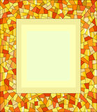 Amber mosaic frame. Bright decorative mosaic frame with empty space in the middle Stock Photography