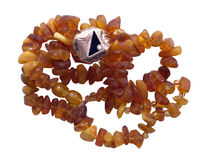 Amber necklace with ring Royalty Free Stock Image