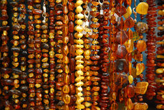 Amber necklaces. Various polish amber necklases hanging at exhibition Stock Images