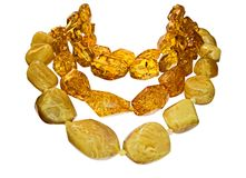 Amber necklaces. Necklaces with large ambers.(Isolated with clipping path included stock photo