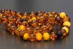 Amber Necklaces In Close up view, Isolated object. Stock Image