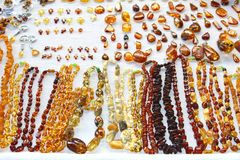 Amber necklaces and earrings in a shop in Vilnius, Lithuania Royalty Free Stock Image