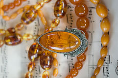 Amber necklaces and pendant Stock Photo