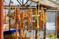 Amber necklaces and souvenirs Royalty Free Stock Photo