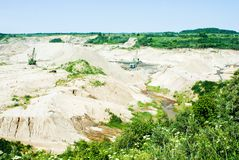 Amber open-cast mining in Yantarny, Russia Royalty Free Stock Photos