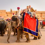 Amber Palace, Jaipur, Rajasthan state, India. JAIPUR, INDIA - JAN 19, 2016: Unidentified Indian man rides an elephant with tourists. Indian elephants used to be stock images