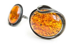 Amber pendant and ring Stock Images