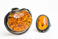 Amber pendant and ring Stock Photos