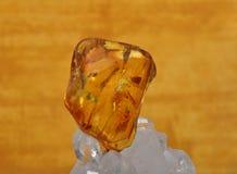 Amber on rock crystal Stock Image