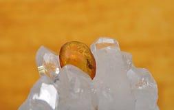 Amber on rock crystal Stock Photos