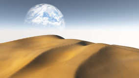 Amber Sand  Desert with Moon or earth Royalty Free Stock Photo