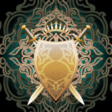 Amber shield. The amber shield with two swords and crown against forged lattice background drawn in classic style royalty free illustration