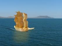 Amber ship in Sea. Amber ship in Black Sea Royalty Free Stock Photos