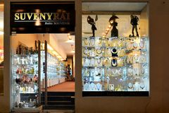 Amber shop exposition in Vilnius city Gediminas prospect Royalty Free Stock Photo