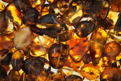 Amber stones. Rectangular closeup lie on a flat surface Royalty Free Stock Photos