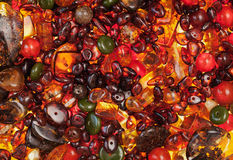 Amber stones. Rectangular closeup lie on a flat surface Royalty Free Stock Photo
