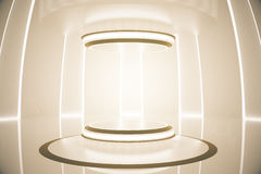Amber teleport. Abstract amber teleportation station. Future concept. 3D Rendering Royalty Free Stock Images