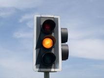 Amber traffic light stock image