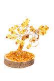 Amber tree of happiness and wedding rings  on white back Stock Image