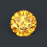 Yellow diamond brilliant cut isolated. Amber color diamond. Brilliant cutting with sparkling dazzling glare. Yellow gemstone. Round crystal Stock Photo