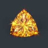 Amber yellow diamond Radiant Trillion cut Stock Photo