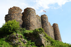 The Amberd fortress ruins in Armenia. Amberd fortress ruins in Armenia Stock Photos