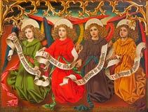 Amberes - ángeles de J. Anthony a partir del año 1898 del altar lateral nuevo-gótico en la catedral de nuestra señora Foto de archivo