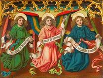 Amberes - ángeles de J. Anthony a partir del año 1898 del altar lateral nuevo-gótico en la catedral de nuestra señora Imágenes de archivo libres de regalías
