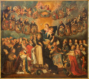 Amberes - el St Dominic con el rosario y Madonna (17 centavo por el pintor desconocido en la iglesia de Willibrordus del santo Fotos de archivo