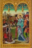 Amberes - juicio de Juana de Arco del santo de J. Anthony a partir del año 1898 del altar lateral nuevo-gótico en la catedral de n Imagenes de archivo