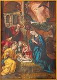Amberes - pintura de la escena de la natividad de Maarten de Vos a partir del año 1577 en la catedral de nuestra señora Imágenes de archivo libres de regalías