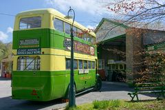 Leyland Titan TD1. Southdown vintage bus & garage. royalty free stock image