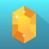 Ambervector op blauwe achtergrond, juwelen, edelsteen, manier Royalty-vrije Stock Afbeelding