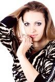 Ambição e avidez na mulher da forma com jóia Imagem de Stock